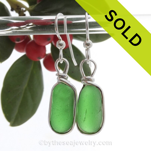 Long Ovals of Vivid Green Genuine Sea Glass Earrings In Sterling Silver Original Wire Bezel©