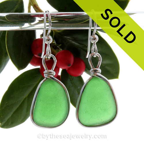 Perfect Natural Triangles of Vivid Green Genuine Sea Glass Earrings In Sterling Silver Original Wire Bezel©