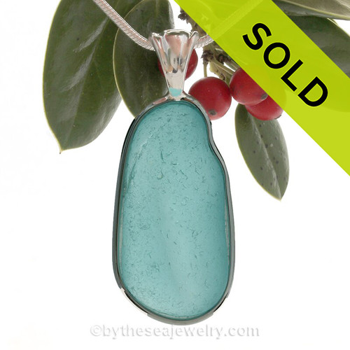 LARGE and LONG Electric Aqua Sea Glass In Sterling Silver Wire Bezel© Necklace Pendant