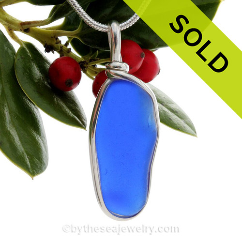 Long Large Cobalt Bright Blue Sea Glass In a Solid Sterling Silver Wire Bezel© Necklace Pendant