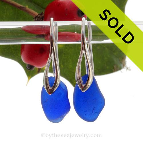 Chunky Genuine Blue Sea Glass Earrings on Sterling Deco Style Hooks.