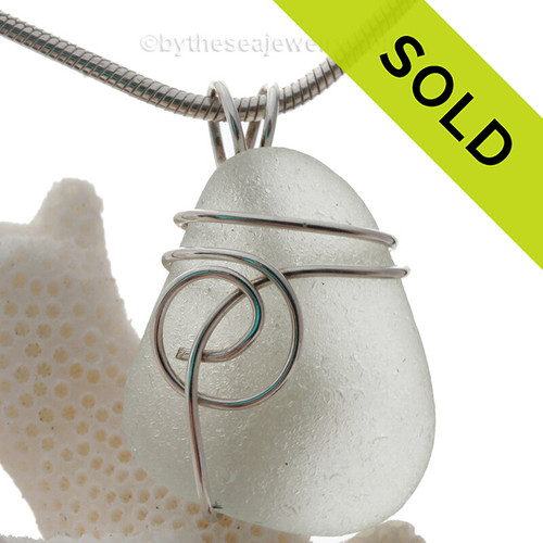 Off White Genuine Sea Glass Pendant In Sterling Silver Sea Swirl Wrap