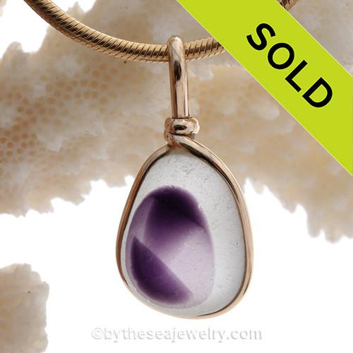 Mini Royal Purple Seaham Sea Glass Pendant in 14K Goldfilled Original Wire Bezel©