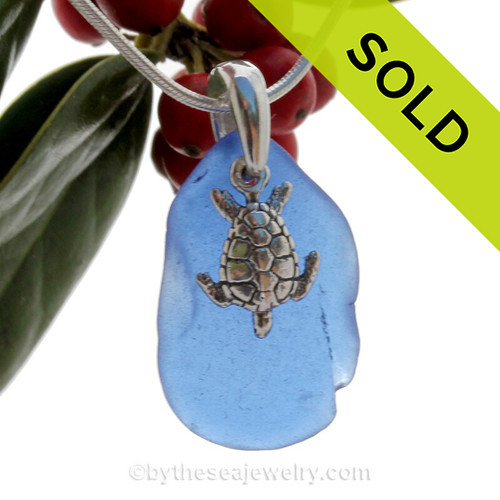 Blue Sea Glass Necklace On Sterling Bail With Sterling Turtle - S/S CHAIN INCLUDED
