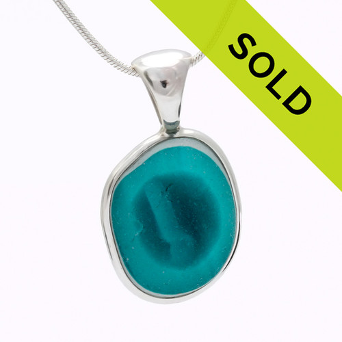 Aqua Echo - English Mixed Sea Glass In Sterling Deluxe Wire Bezel©