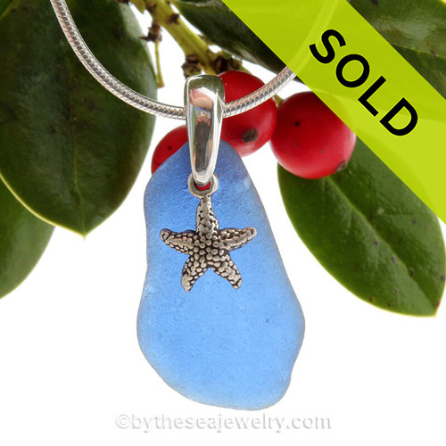 Large Blue Sea Glass Necklace On Sterling Bail With Sterling Silver Starfish Charm - S/S CHAIN INCLUDED