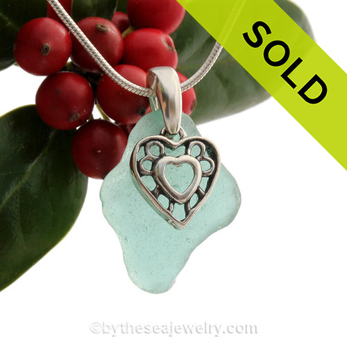 """Aqua Love - Deep Aqua Sea Glass Necklace With Sterling Silver Hearts Charm - 18"""" Sterling Snake CHAIN INCLUDED!"""