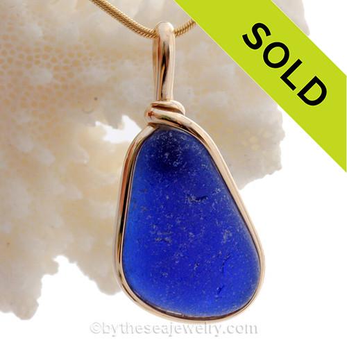 Deep Rich Cobalt Blue Genuine Sea Glass pendant set in our 14K Goldfilled Original Wire Bezel©