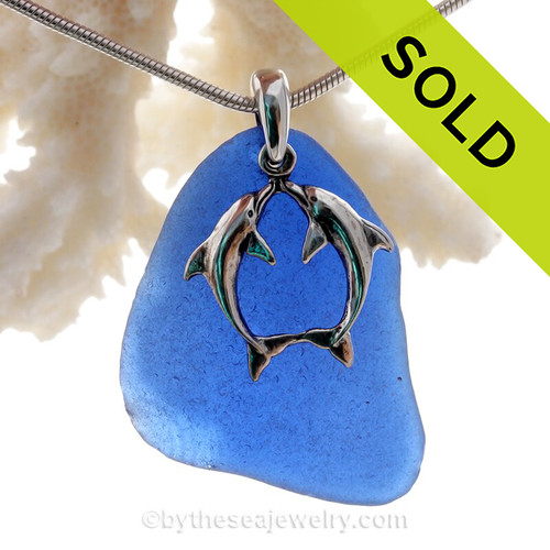 "Beautiful Kissing Dolphins Sterling Silver Necklace with Long and Large Vivid Cobalt Blue Sea Glass - 18"" STERLING CHAIN INCLUDED."