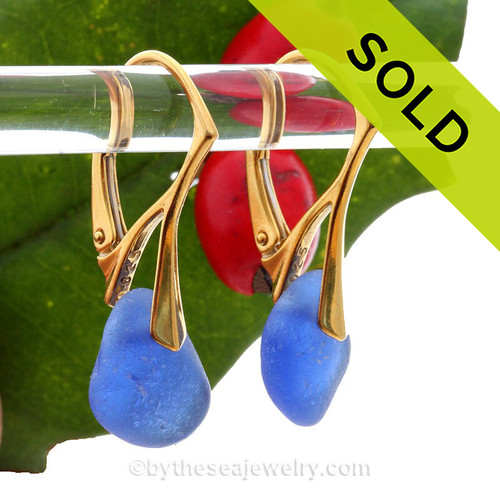 Thicker Petite pieces of Cobalt Blue Sea Glass on 24K Gold Vermeil Leverbacks Earrings