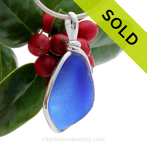 Curvy Cobalt Blue Sea Glass Necklace Pendant In Sterling Original Wire Bezel©