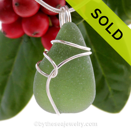 Thick Seaweed Green Sea Glass Pendant In Sterling Deco Side Setting