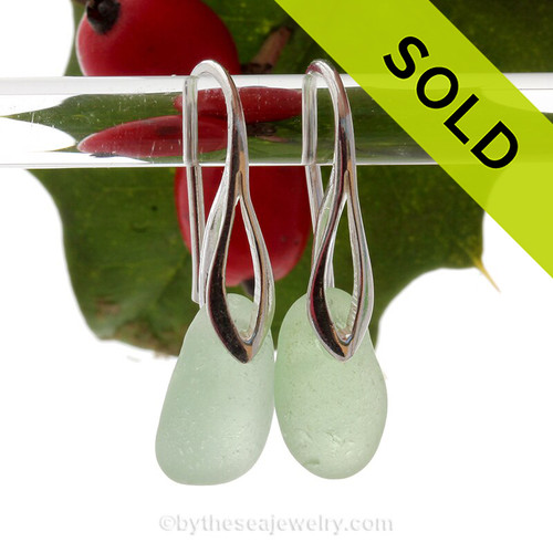 Thick Vivid Yellowy Sea Green Genuine Sea Glass Earrings on Solid Sterling Deco Hooks
