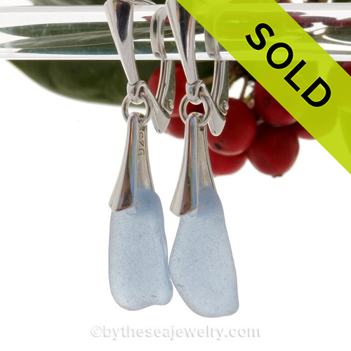 Longer Carolina Blue Genuine Sea Glass on Solid Sterling Silver Deluxe Dangly Leverbacks