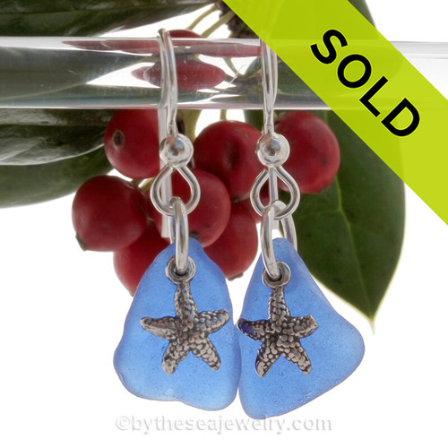 Cobalt Blue Genuine Beach Found Sea Glass On Silver Earrings W/ Starfish Charms