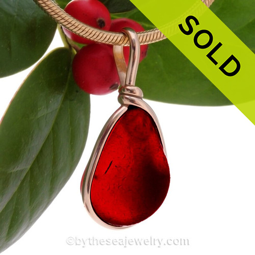 Last Light-  Super Ultra Red End Of Day Slag Sea Glass In 14K F/G Original Wire Bezel