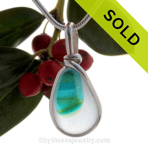 Tropicale Modern Art - ULTRA RARE Mini Multi Sea Glass Necklace Pendant In S/S Original Wire Bezel©