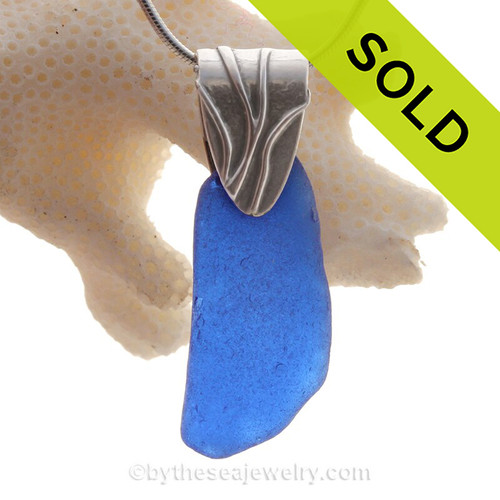 Longer Cobalt Blue Sea Glass Necklace On Sterling Coral Branch Bail- Solid Sterling Chain INCLUDED