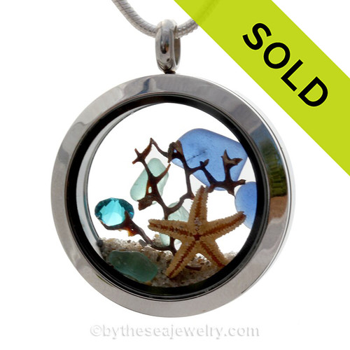 Tropical Seasons  - Cobalt Blue & Aqua Genuine Sea Glass With Starfish & Aqua Crystal Gem In A Stainless Steel Locket
