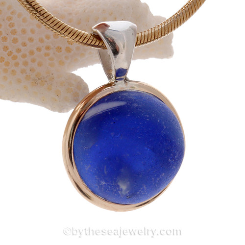 Blue Sea Glass Beach Found Marble Pendant In Deluxe Mixed Tiffany  Wire Bezel© This is the EXACT Sea Glass Marble pendant you will receive!