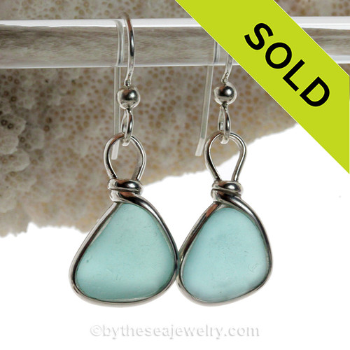 Perfect Triangles of Aqua Blue Beach Found Sea Glass Earrings In Solid Sterling Silver Original Wire Bezel©