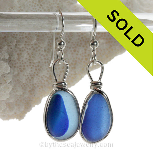 Lovely Ultra Rare Blue Mixed Sea Glass Earrings set in our Original Wire Bezel© setting in silver.