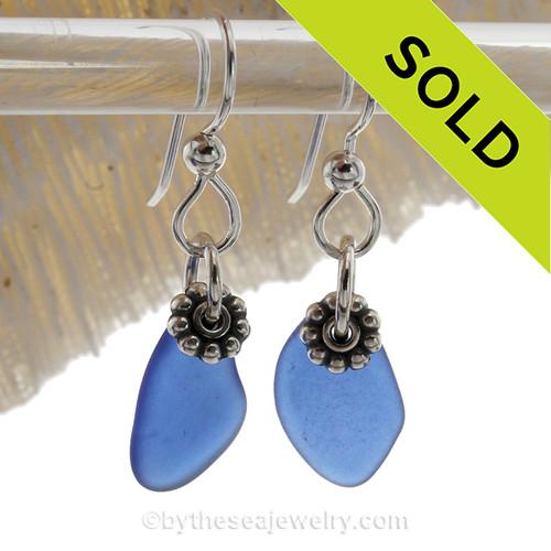 Simply Sea Glass Lightweight Blue Earrings On Silver Silver Earwires
