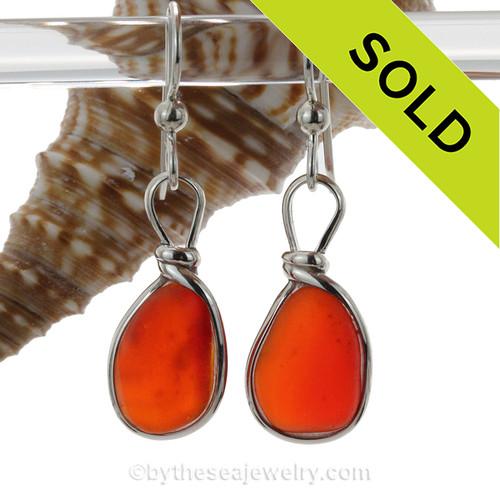 Super Ultra Rare Orange Red Genuine English Sea Glass Earrings In Solid Sterling Silver Original Wire Bezel©