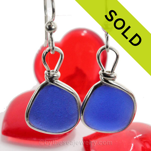 Cobalt Blue Genuine Beach Found Sea Glass Earrings Solid Sterling Silver Original Wire Bezel©, a great choice for any sea glass lover!