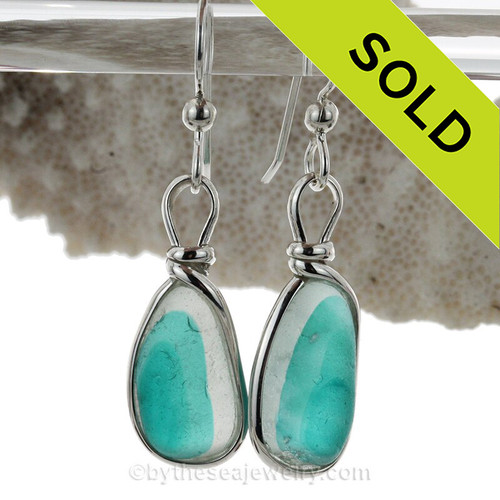 SUPER ULTRA RARE - LARGE Mixed Aqua Green Sterling English Multi Sea Glass Earrings In Sterling Original Wire Bezel©