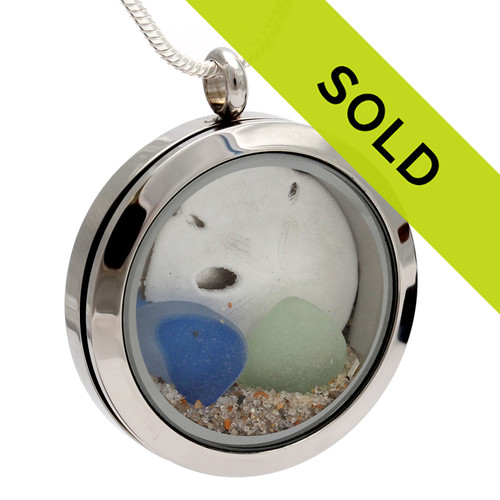 Flashed Blue & Seafoam Green Sea Glass Locket With Beach Sand & Sandollar