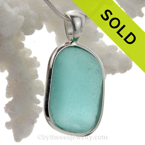 Cool Squarish Aqua Genuine Sea Glass Pendant In Deluxe Wire Bezel Setting©