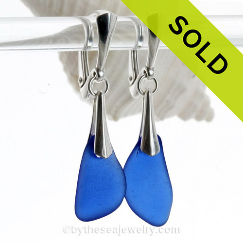 Long pieces of Vivid Cobalt Blue Genuine Sea Glass Solid Sterling Silver Dangly Deluxe Leverback Earrings.