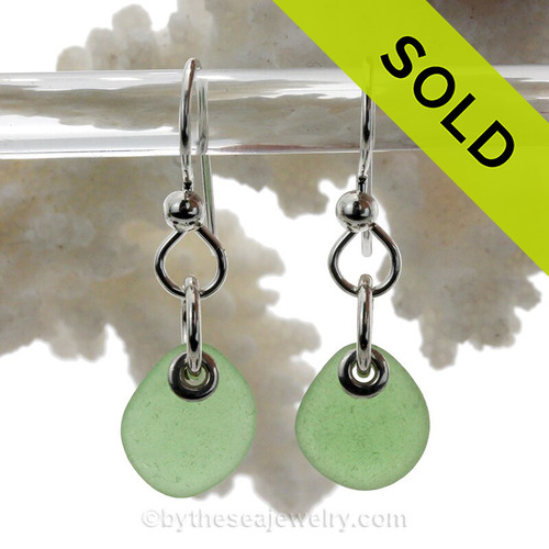 Green Sea Glass Earrings On Sterling On Fishooks (