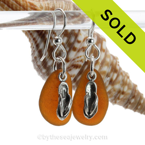 Perfect genuine brown Sea Glass Earrings combined with Solid Sterling Flip Flop charms.