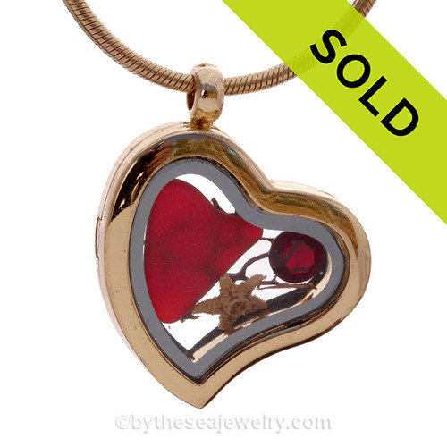 Ruby Red Beach Found Sea Glass Heart Goldtone Locket Necklace W/Starfish & Gem