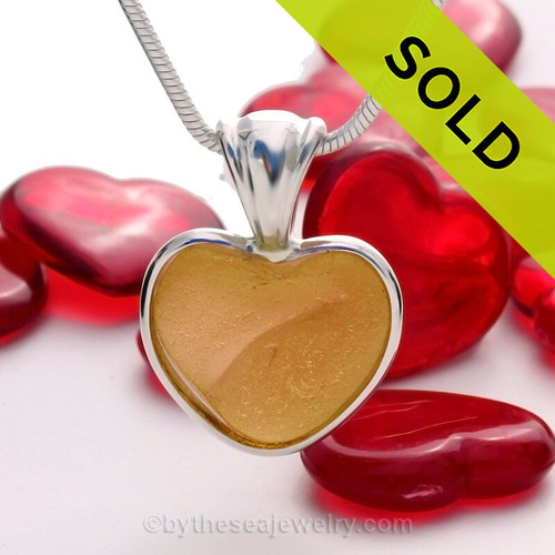 ULTRA RARE Warm Golden Yellow Natural Sea Glass Heart In Deluxe Sterling Bezel© Pendant
