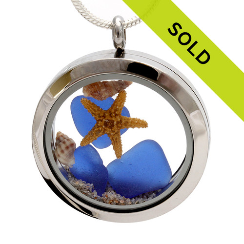Blue For The Beach- Blue Sea Glasses W/ Sand & Starfish Locket
