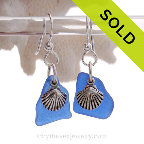 Genuine Beach Found Blue Sea Glass Earrings On Sterling W/ Sea Shell Charms.
