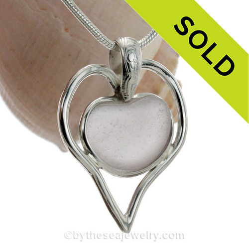 February Love - RARE Pale Purple Genuine Sea Glass Heart In Deluxe Sterling Double Bezel© Necklace Pendant. A great sea glass necklace for any beach lover!