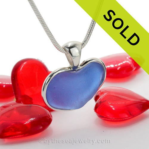 Blue Carolina Love - Carolina Blue Natural Sea Glass Heart In Deluxe Sterling Bezel© Necklace Pendant