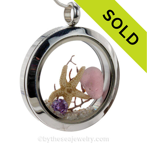 Plum Power -  Genuine Sea Glass Locket With Starfish &  Amethyst Gemstones