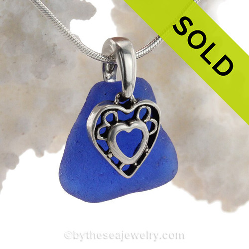 Classic Cobalt Blue Sea Glass Necklace with beach found glass and Solid Sterling Hearts in Hearts Charm and INCLUDING Solid Sterling Silver Snake chain.