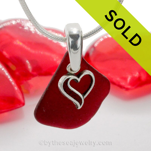 Royal Ruby Red Sea Glass Necklace with beach found glass and Solid Sterling Red Enameled Heart Charm and INCLUDING Solid Sterling Silver Snake chain.