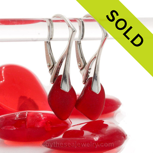 Ruby Red Genuine Beach Found Sea Glass Earrings On Silver Leverbacks