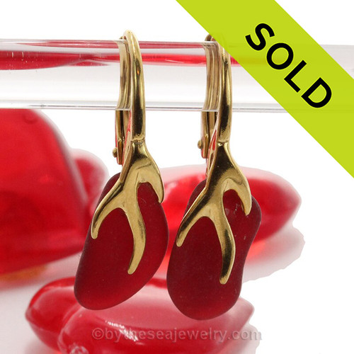 Real Ruby Red Sea Glass Earrings on 24K Gold Vermeil Coral Branch Earrings