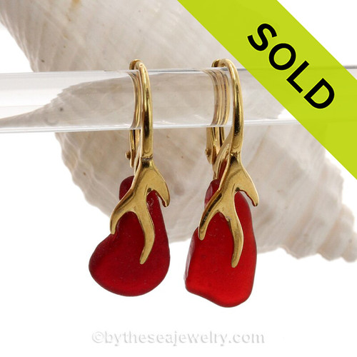 Real Ruby Red Genuine beach found Sea Glass Earrings on 24K Gold Vermeil Coral Branch Earrings