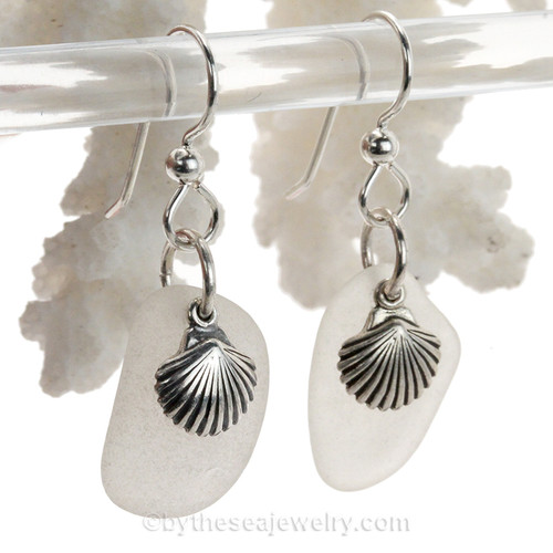Larger Sea Glass Earrings In White on Sterling Silver With S/S Shell Charms