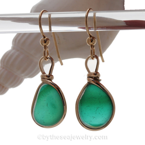 SUPER ULTRA RARE - LARGE Mixed Aqua Green with a hint of Gold English Multi Sea Glass Earrings In 14K Goldfilled Original Wire Bezel©
