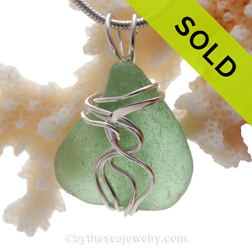 Bright Sea Green Genuine Sea Glass Sterling Waves© Signature Sterling Setting Pendant